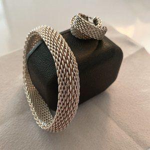 Tiffany & Co. Somerset Mesh Bangle & Earring Set